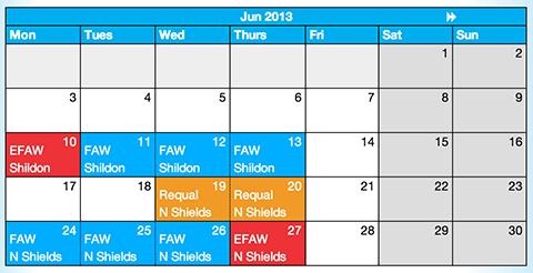 First Aid Course Calendar